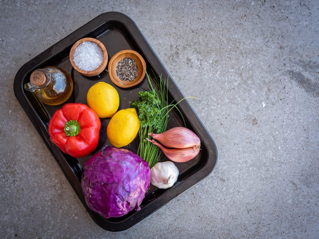 Ingredients for salsa recipe with ribeye steak
